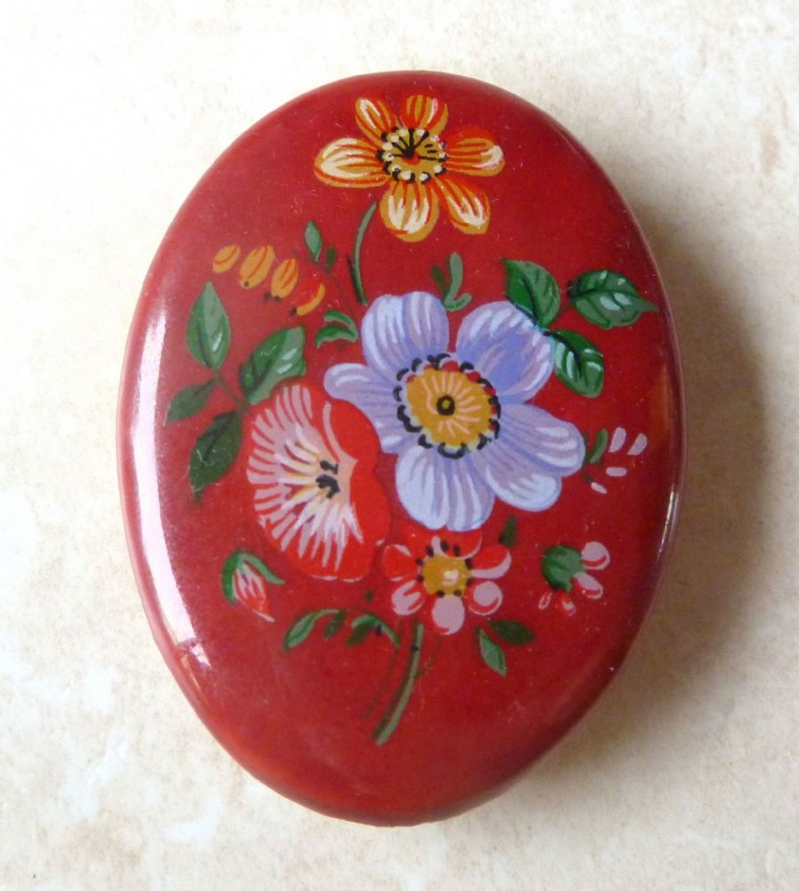 Vintage Hand Painted Ceramic Flower Brooch